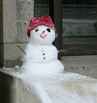 Snowman on the steps