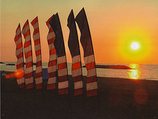 American flag at sunset on presque isle